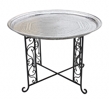 Moroccan  Vintage Aluminium Tray Or Table with Wrought Iron Legs Diameter 76 cm. 30'' (ALT6)